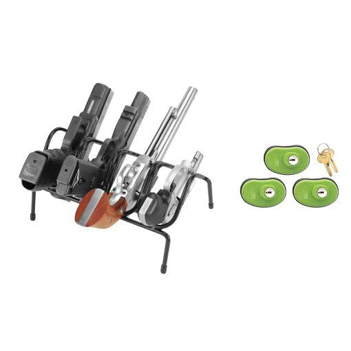 Handgun Rack and 3 Trigger Locks Bundle